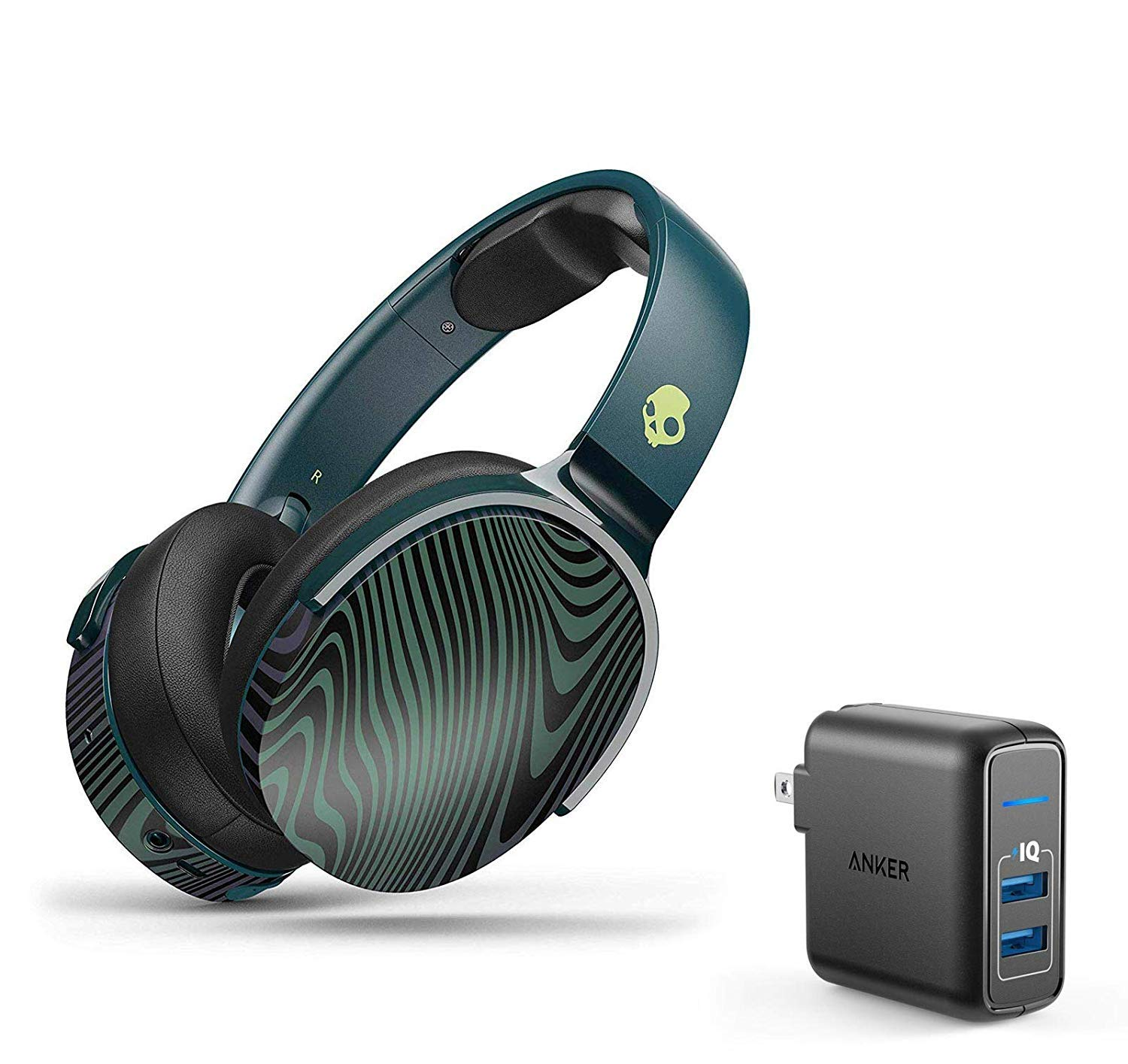Skullcandy HESH 3 Noise Canceling Over-Ear Wireless Bluetooth Headphone Bundle with Anker 2 Ports USB Wall Charger - Psycho Tropical