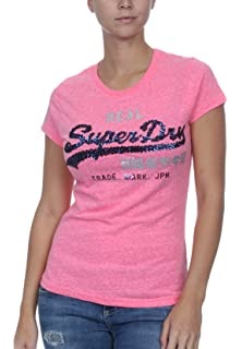 05f3c6037a726a Superdry Damen T-Shirt Vintage Logo Sequin Entry Tee Fluro Pink Rugged