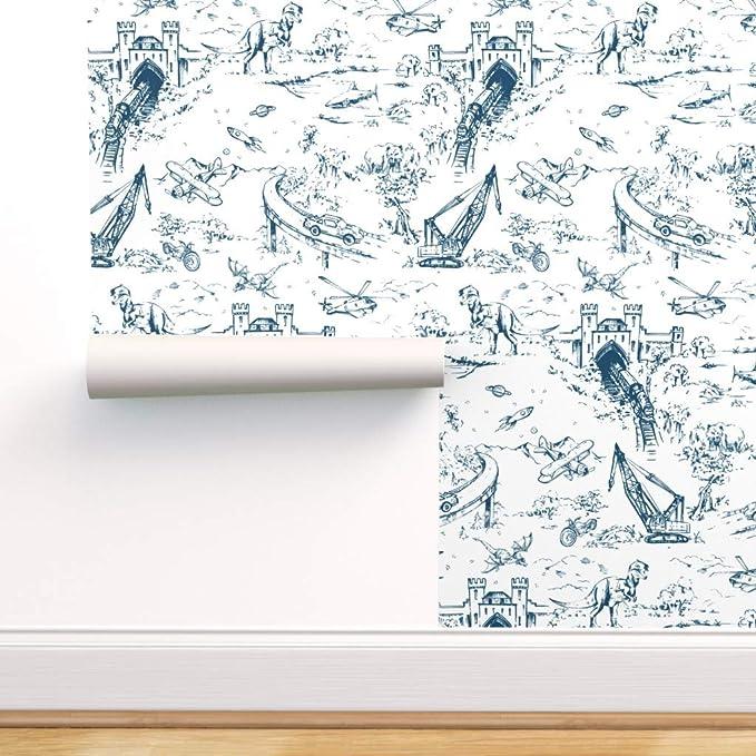 Removable Water-Activated Wallpaper Dino Toile Dinosaur Dragon Train Children