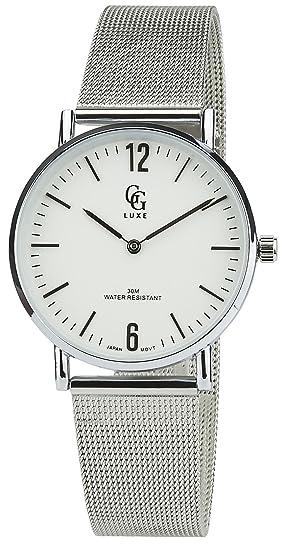 Reloj Mujer GG LUXE Blanco Cuarzo Caja Acero Pantalla analógica Pulsera Acero Plata