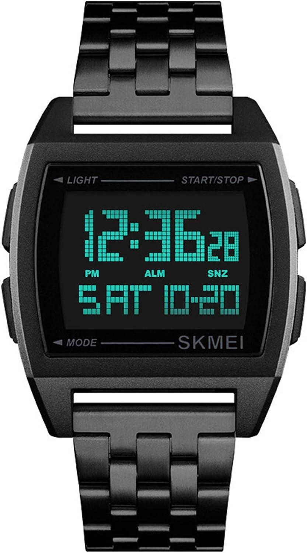 Relojes Digital Rectángulo Multifunción Relojes Hombre Cronómetro LED Relojes Acero Inoxidable Deportivo, Negro