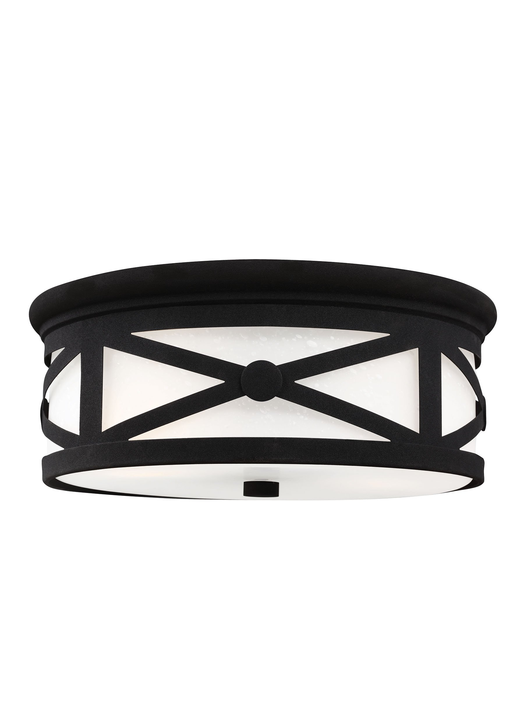 Sea Gull 7821452-12 Lakeview Outdoor Ceiling Flush Mount, 2-Light 120 Total Watts, Black