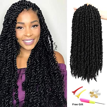 DANSAMA 8 Packs Pre-twisted Passion Twist Hair for 20 Inch Pre-looped Crochet Hair Braiding Hair 12strands Pre-twisted 20inch, 1B