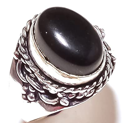 Black Onyx Oxidized Sterling Silver Overlay Ring Size 6 US Handmade Jewelry Ethnic Wear