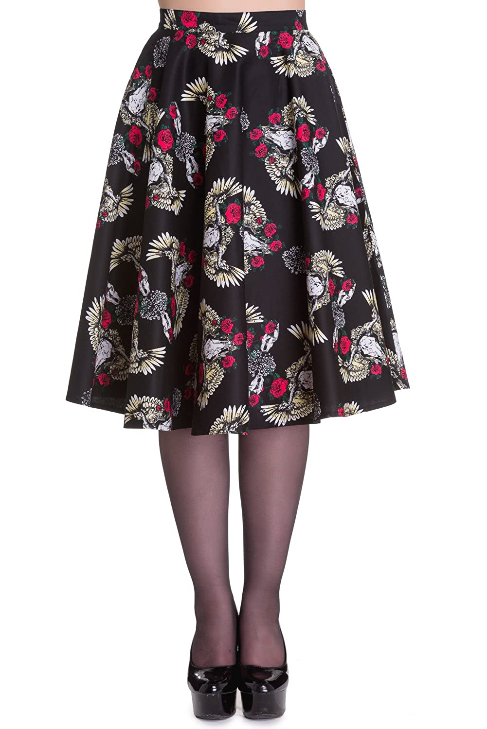 Plus Size Gothic Western Texas Longhorn Skull & Angel Wings Flair Circle Skirt HB-5349Plus
