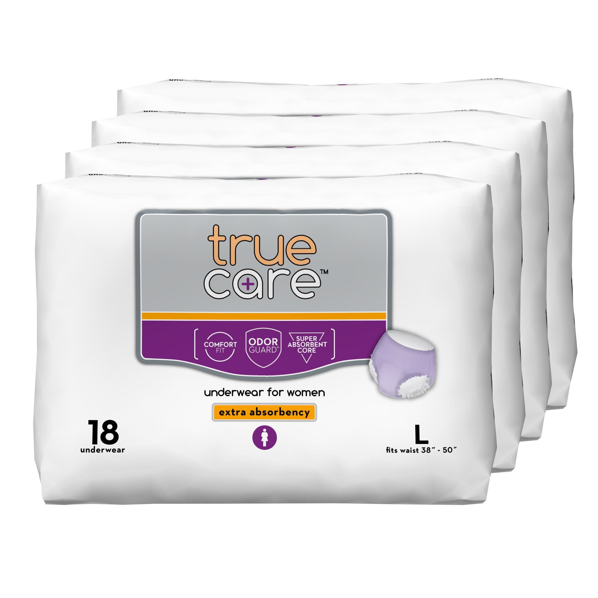 True Care Women's Extra Absorbency Incontinence Underwear, Large, 72 Count
