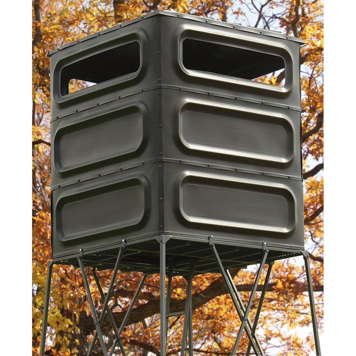 10' Box Stand Hunting | Deluxe, Sturdy, Well-designed Elevated Hidden Hunting Treehouse.