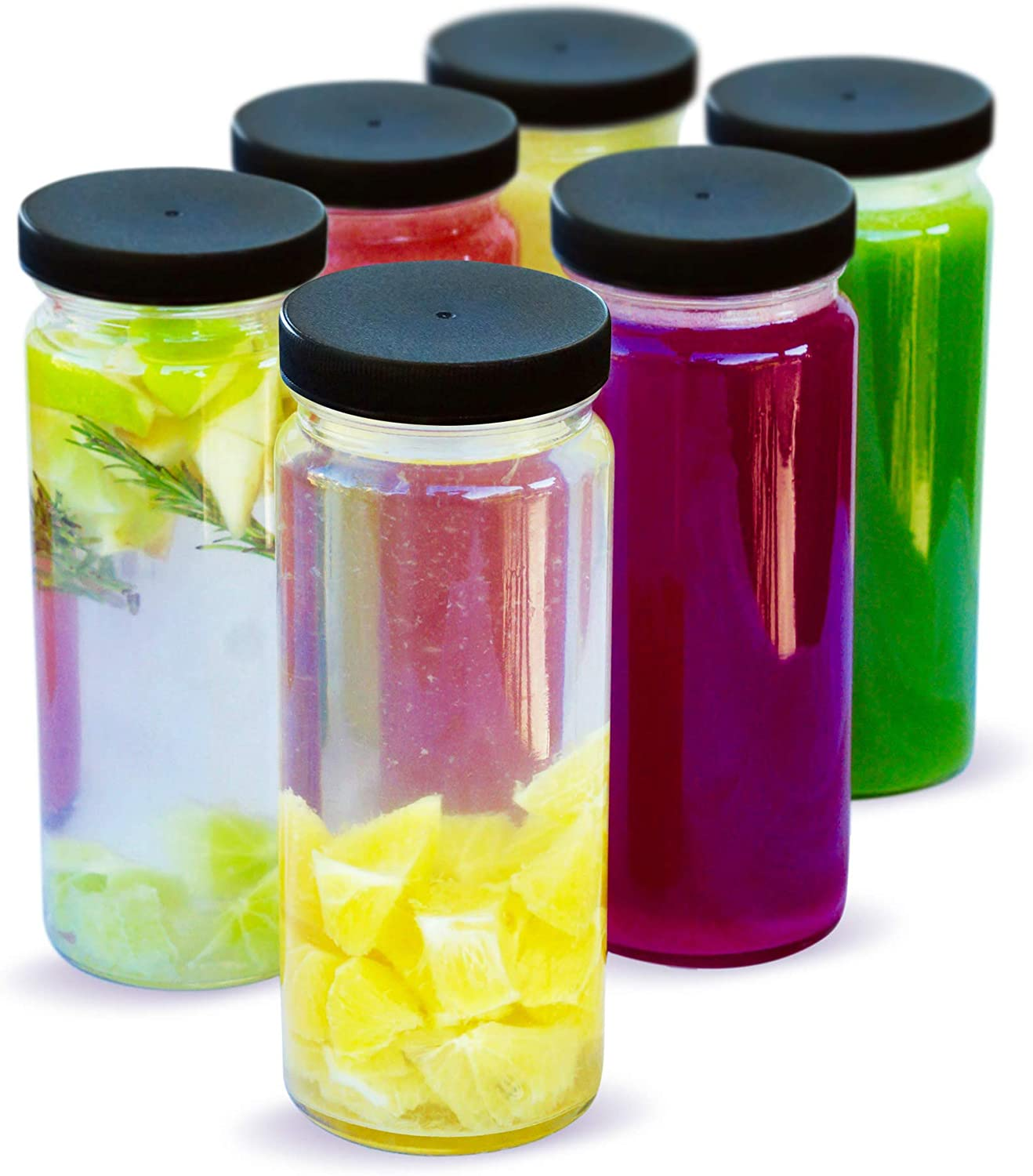 Leak Proof 6 Pack Wide Mouth with Lids for Juice 16 oz Smoothies Eco Friendly /& BPA Free Dishwasher Safe Beverage Storage Reusable Black Caps Durable Glass Water Bottles Set Clear