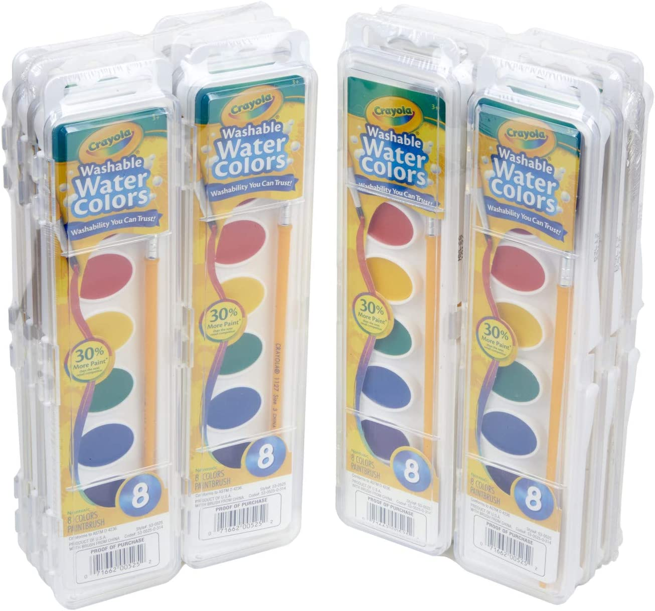 Crayola Washable Watercolors in 8 Vibrant Colors Classroom Supplies 12 Paint Sets for Kids
