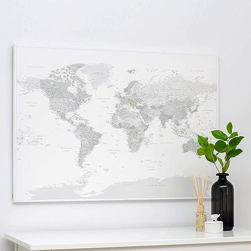 Mapa Mundi - Cuadro mapamundi para decoración casa y 100 chinchetas para mapas - Gris Blanco - Cuadros de salon y decoración habitacion para colgar - 3 Tallas a elegir: Amazon.es: Handmade