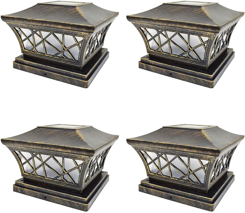 IGlow Vintager-Look Solar Post Lights 4-Pack