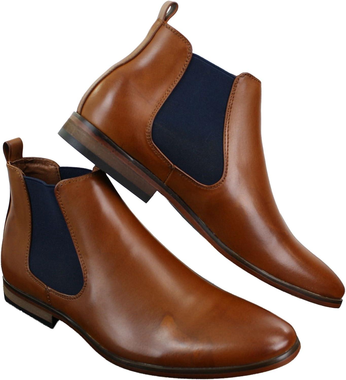galax Herrenschuhe Braun Kaffee Schwarz Italienisch Slip On Design Chelsea Stiefel