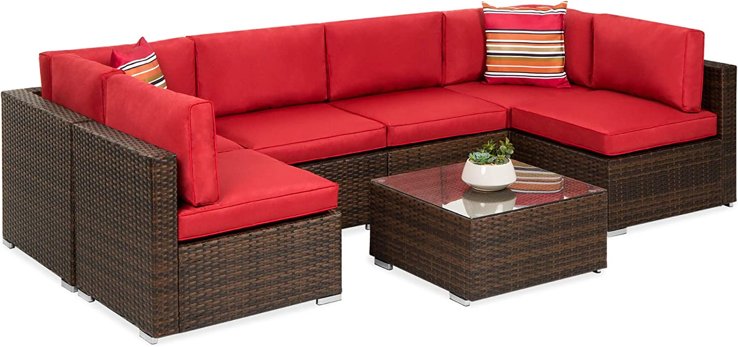 Best Choice Products 7-Piece Modular Outdoor Sectional Wicker Patio Furniture Conversation Set w/ 6 Chairs, 2 Pillows, Seat Clips, Coffee Table, Cover Included - Brown/Red