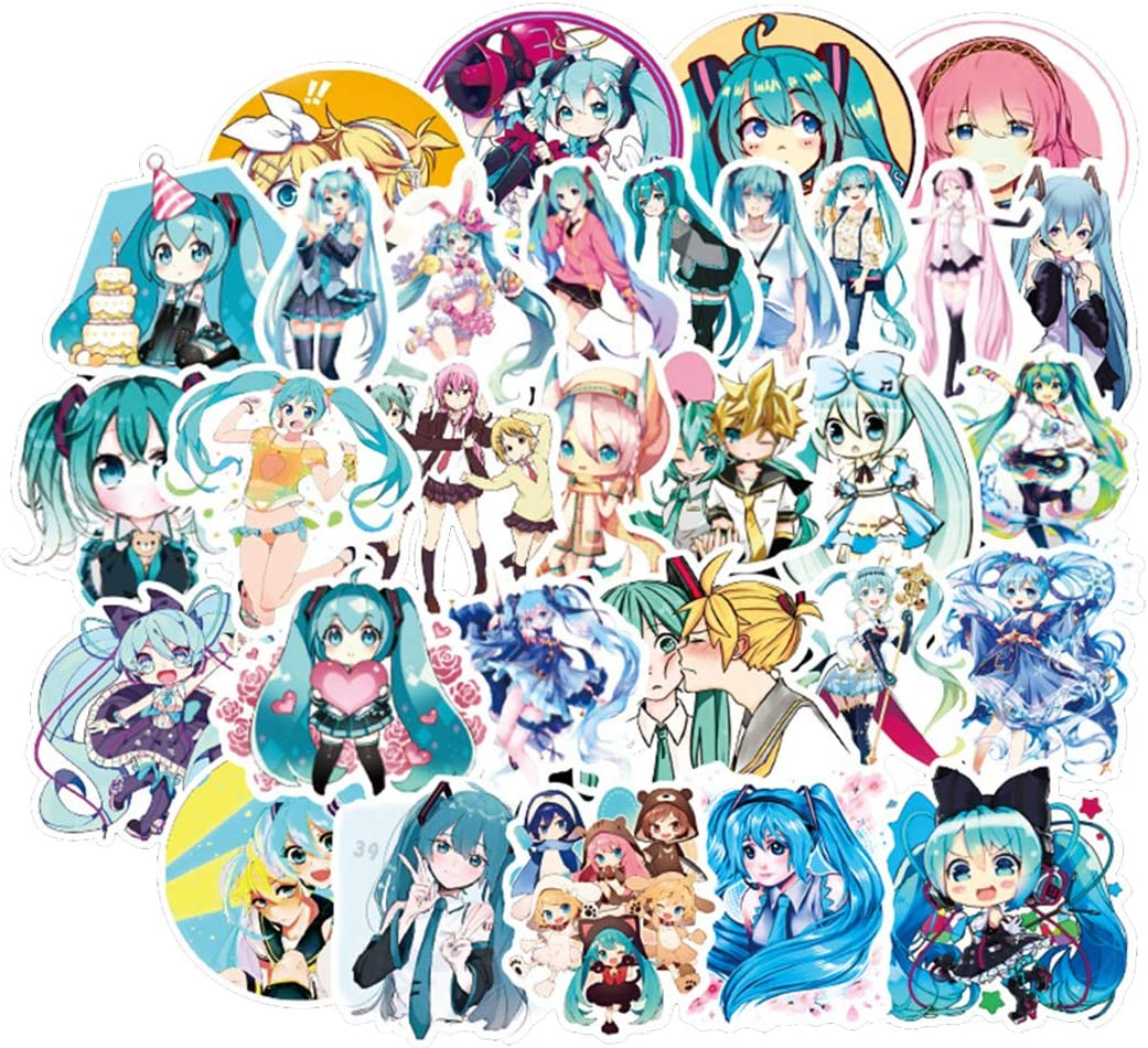 [FOCUS's Stickers]50Pcs Hatsune Miku Stickers for Laptop Cellphone Water Bottle Hydro Flask Skateboard Luggage Car Bumper, etc FJKT