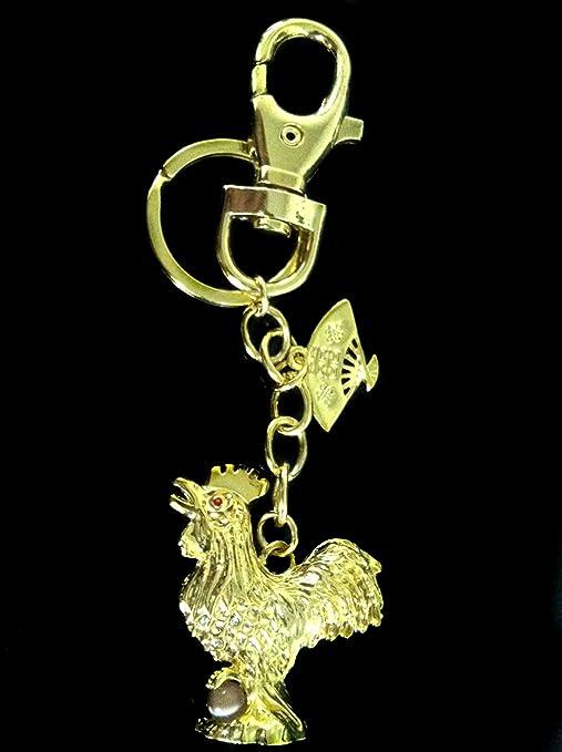 Betterdecor Feng Shui Gallo con un Fan Amuleto Llavero ...