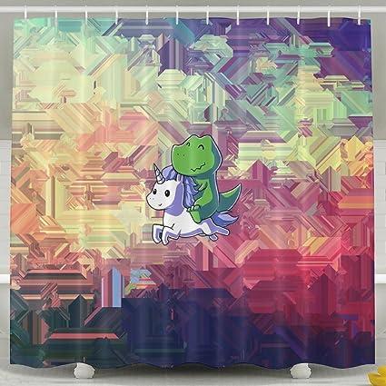 Fabulous Amazon Com Unicorn And Dinosaur Bathroom Shower Curtain Download Free Architecture Designs Jebrpmadebymaigaardcom