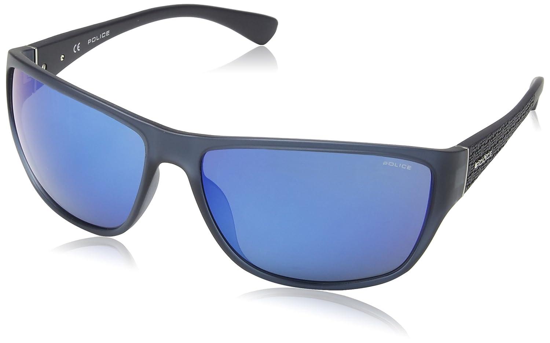 Police Herren Sonnenbrille SPL144, Blau (Shiny Transp.Blue), One size