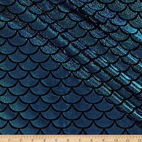 Pine Crest Fabrics Ariel Scallop Sparkle Activewear Knit Fabric, Turquoise/Black