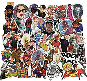 Water Bottle Rap Stickers Laptop Stickers Pack 48 Pcs Hiphop Music Decals for Water Bottle Laptops Ipad Cars Luggages