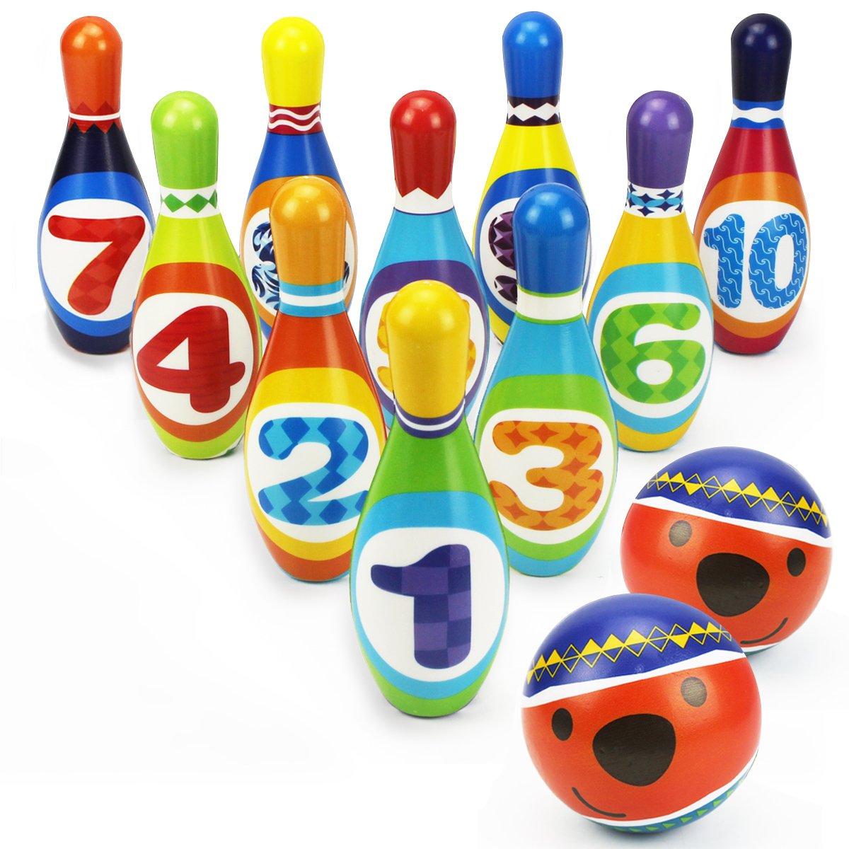Iplay Ilearn Kids Bowling Play Set, Schaumstoff Ball Spielzeug Geschenke, Educational, frühe Entwicklung, Sport, Indoor Spielzeug, 10Pins und 2Kugeln für Alter 2, 3, 4, 5jährigen Kinder, Kleinkinder, Jungen, Mädchen frühe Entwicklung 5jährigen Kinder M