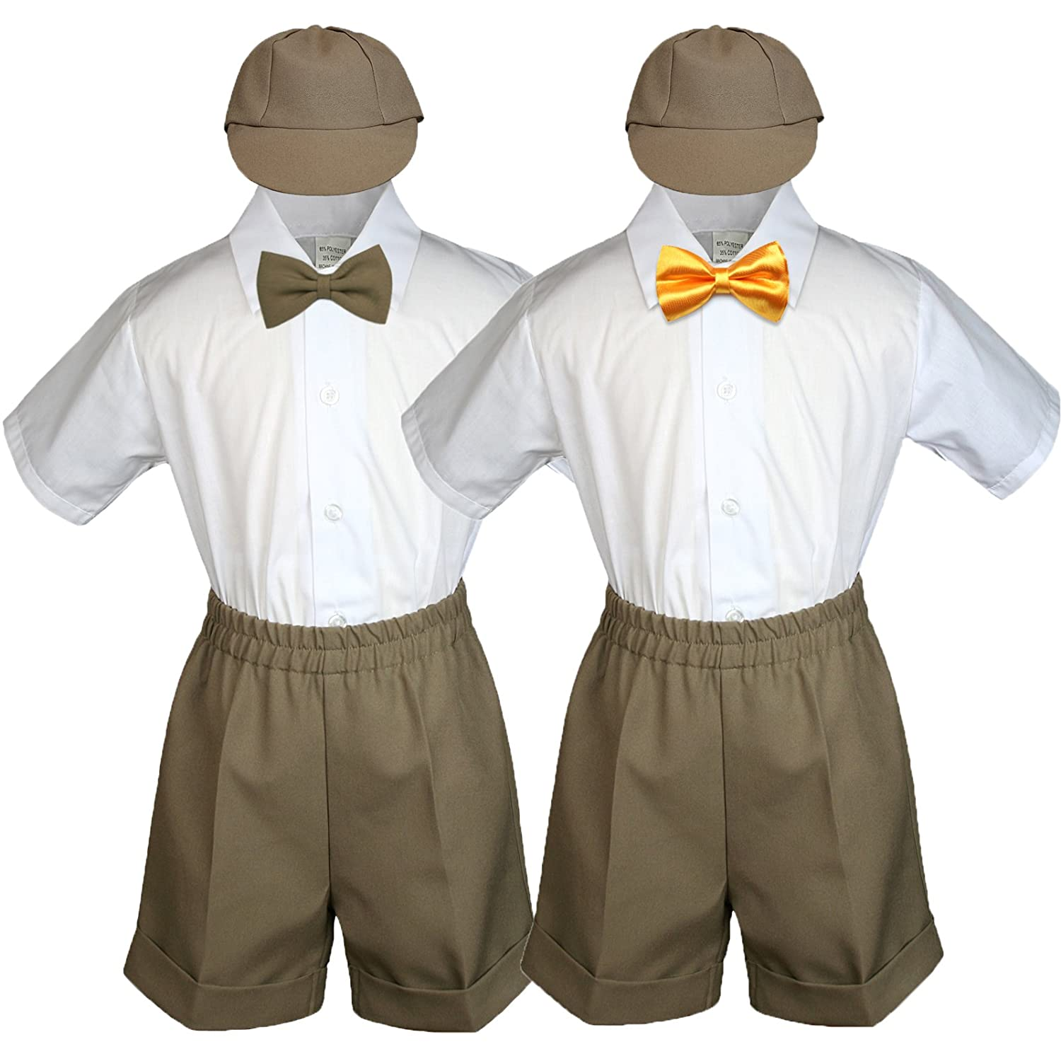 Baby Toddler Boy Kid Wedding Suit Dark Taupe Shorts Shirt Hat Bow Tie Set Sm-4T