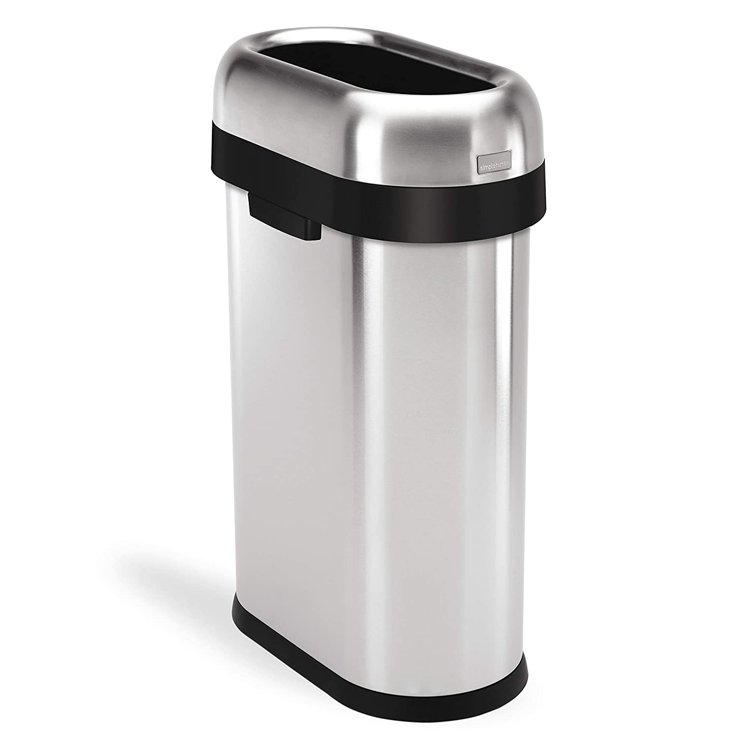 simplehuman Slim Open Trash Can, Commercial Grade, Stainless Steel, 50 L / 13 Gal