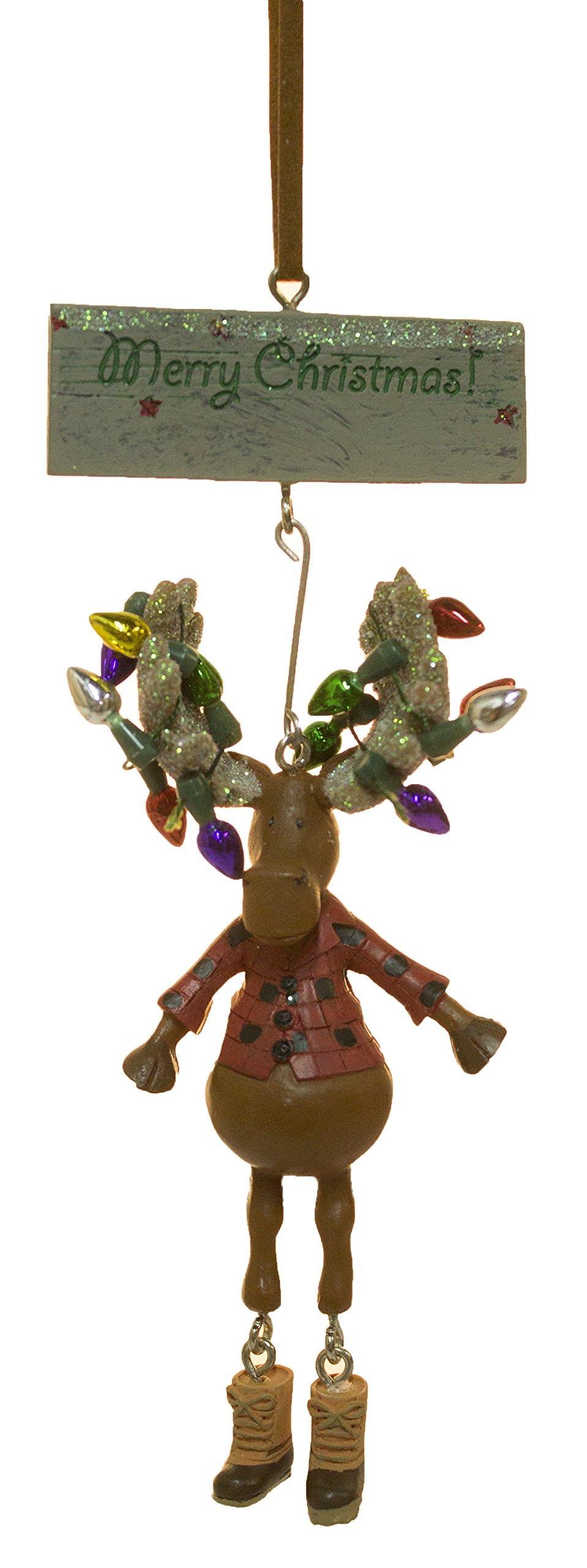 Dangle Leg Moose w/ Christmas Lights Christmas/ Everyday Ornament