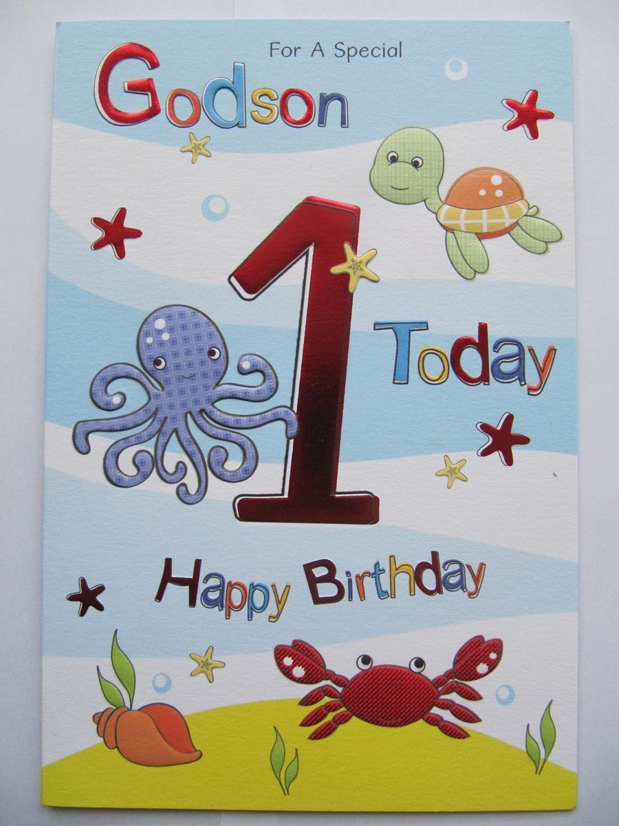 Wonderful Colourful Embossed Special Godson 1 Today 1st Birthday