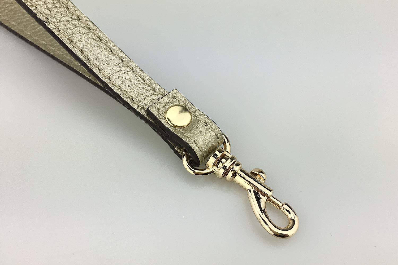 VanEnjoy Wristlet Keychain Cellphone Genuine Leather Hand Strap with Golden Lock Brown