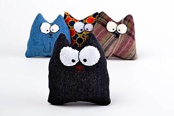 Juguete de peluche artesanal negro regalo original para nino gato de peluche