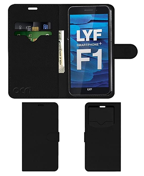Acm Leather Window Flip Wallet Front  amp; Back Case for Lyf Water F1 Mobile Cover Black Mobile Phone Cases   Covers