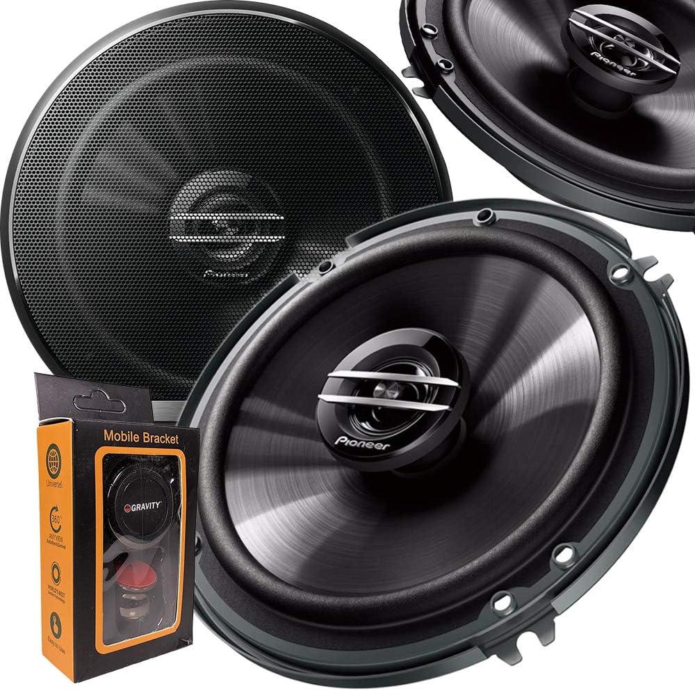 Pair of Pioneer 6-1//2 6.5 2-Way 300 Watt Coaxial Car Audio Speakers TS-G1620F + Gravity Magnet Phone Holder 2 Speakers