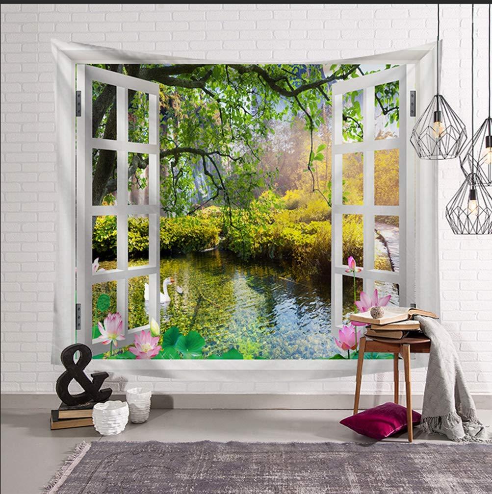 La fen/être #10, 95 * 73cm Haobing Paysages Tapisserie Mode D/écoration de Chambre Couvre-lit Drap de Plage Imprim/é Tenture Murale