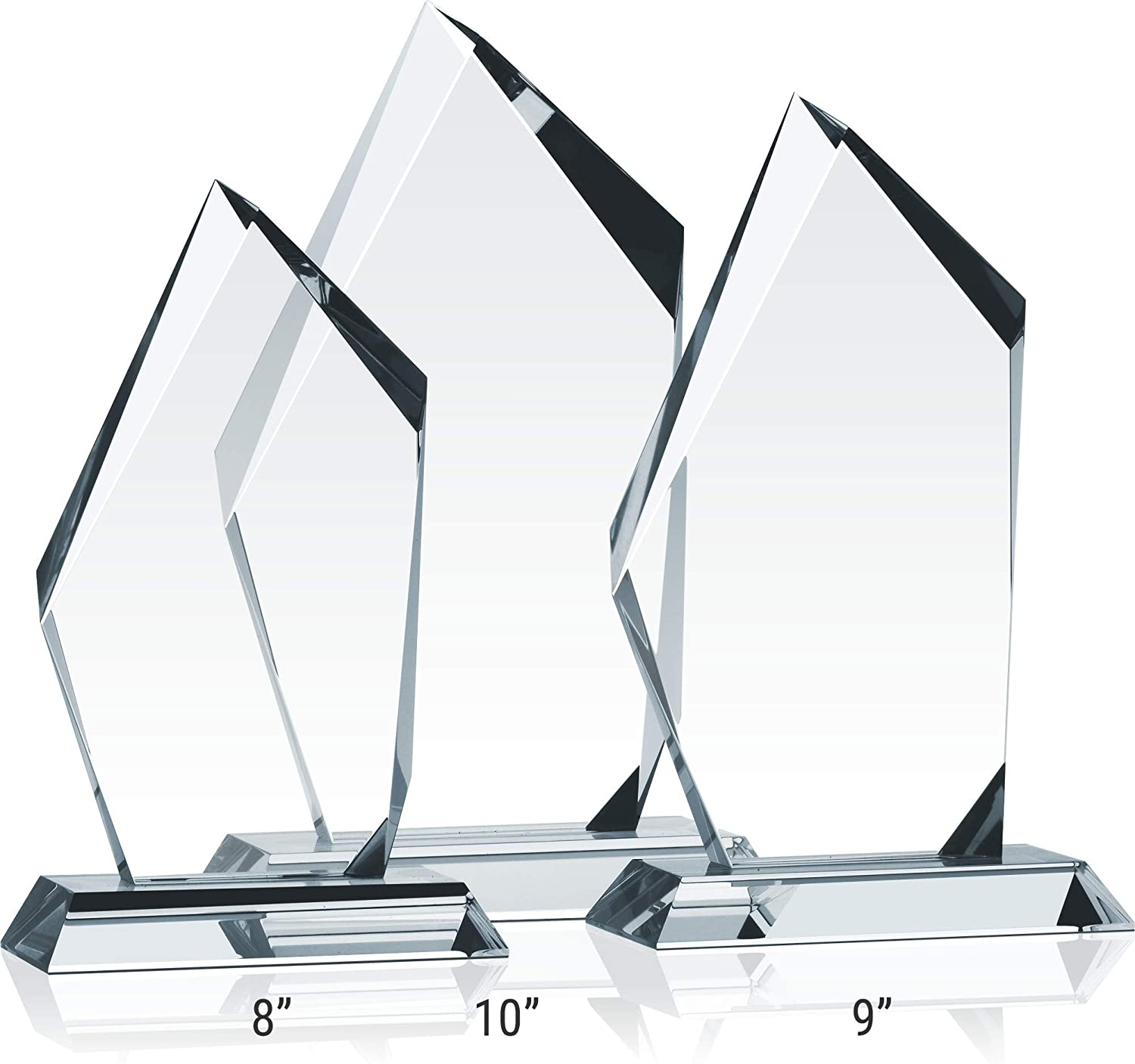 Unique Crystal Corporate Sales Recognition Award Personalized with Recipient and Award name S - 8 Custom Engrave Crystal Pinnacle Shaped Sales Award Trophy