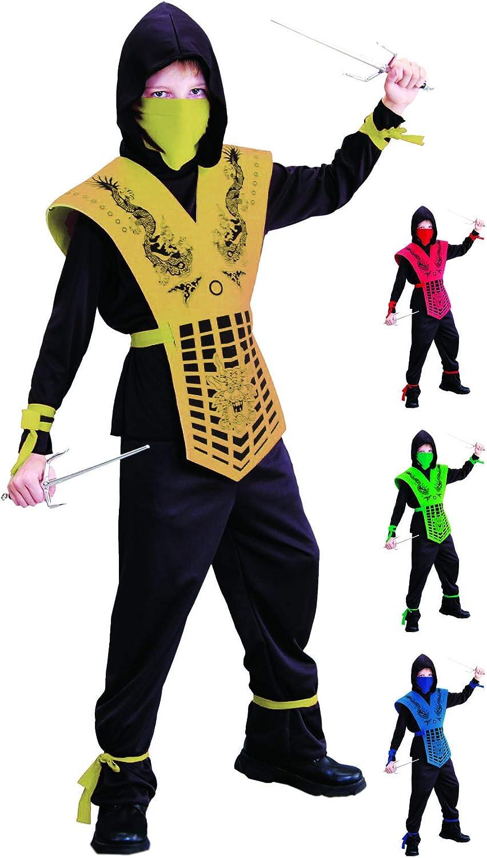 Foxxeo Disfraz de Ninja Negro Dorado para niños Disfraz de Ninja ...