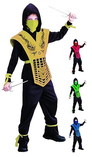 Foxxeo Disfraz de Ninja Negro Dorado para niños Disfraz de ...