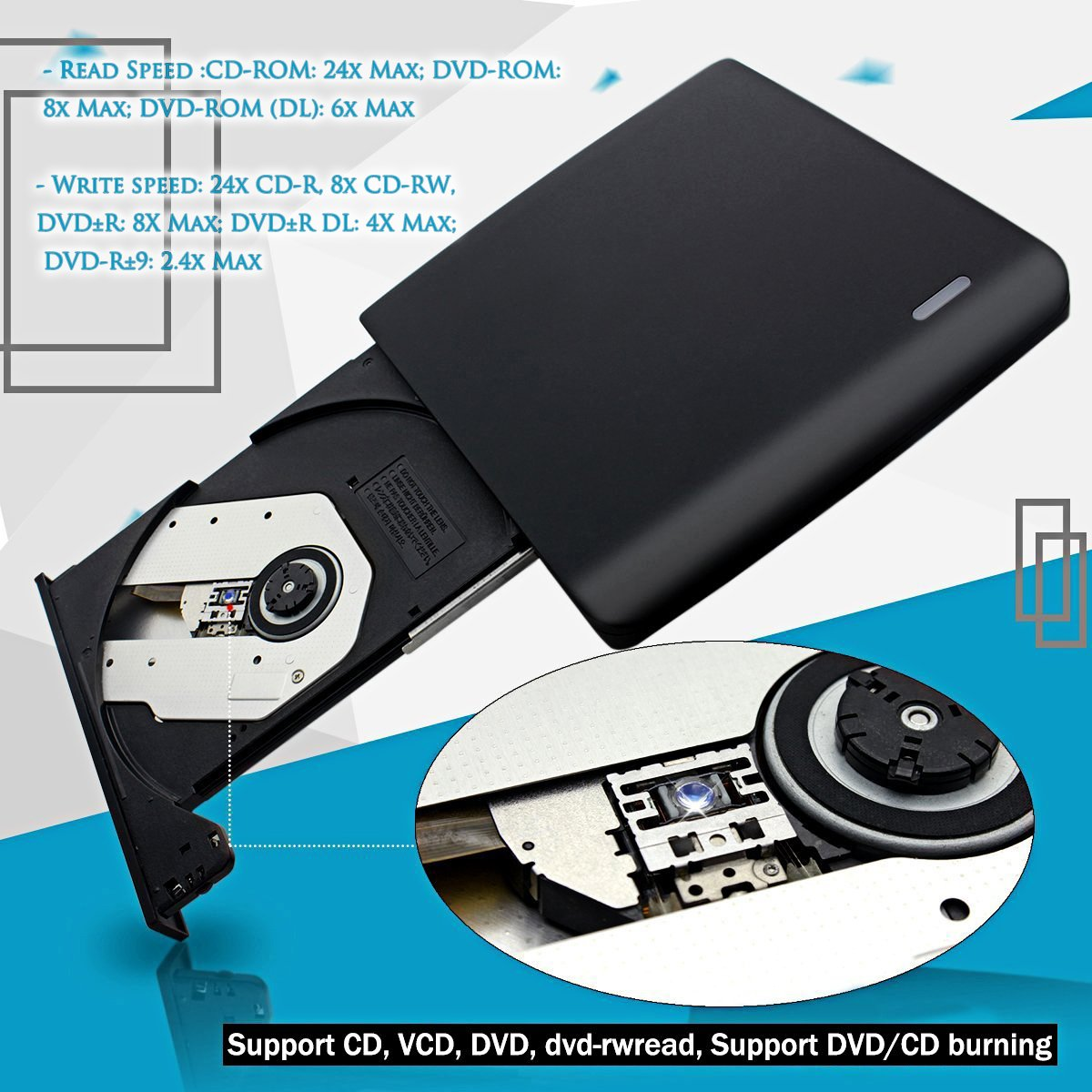 External CD/DVD Drive CD/DVD recorder, Portable CD DVD +/-RW Drive Slim DVD/CD Rom Rewriter Burner Writer, High Speed Data Transfer for Macbook Pro Laptop/Desktops Win 7/8.1/10 and Linux OS by Quartet trade (Image #4)