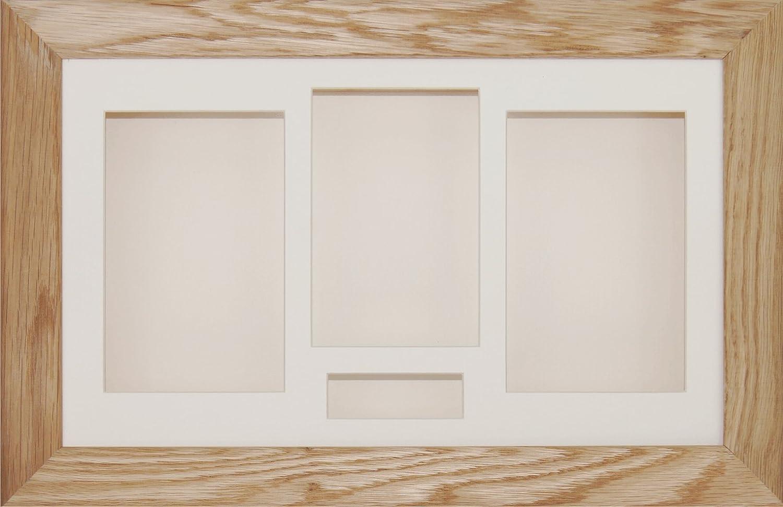 BabyRice 14.5x8.5 Solid Oak Shadow Box 3D Medal Keepsake Casts Flowers Display Frame / Cream 4 Aperture Mount / Cream backing 710.CRM4.CRMBKG.FRAME