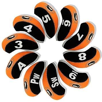 FLTRAD - Fundas elásticas de neopreno reutilizadas para cabezas de palos de golf (3 - 9 A/SW/PW), con etiqueta de número (10 unidades, 6 colores a ...