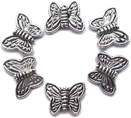 4 Butterfly Glass Beads 13mm x 10mm Black