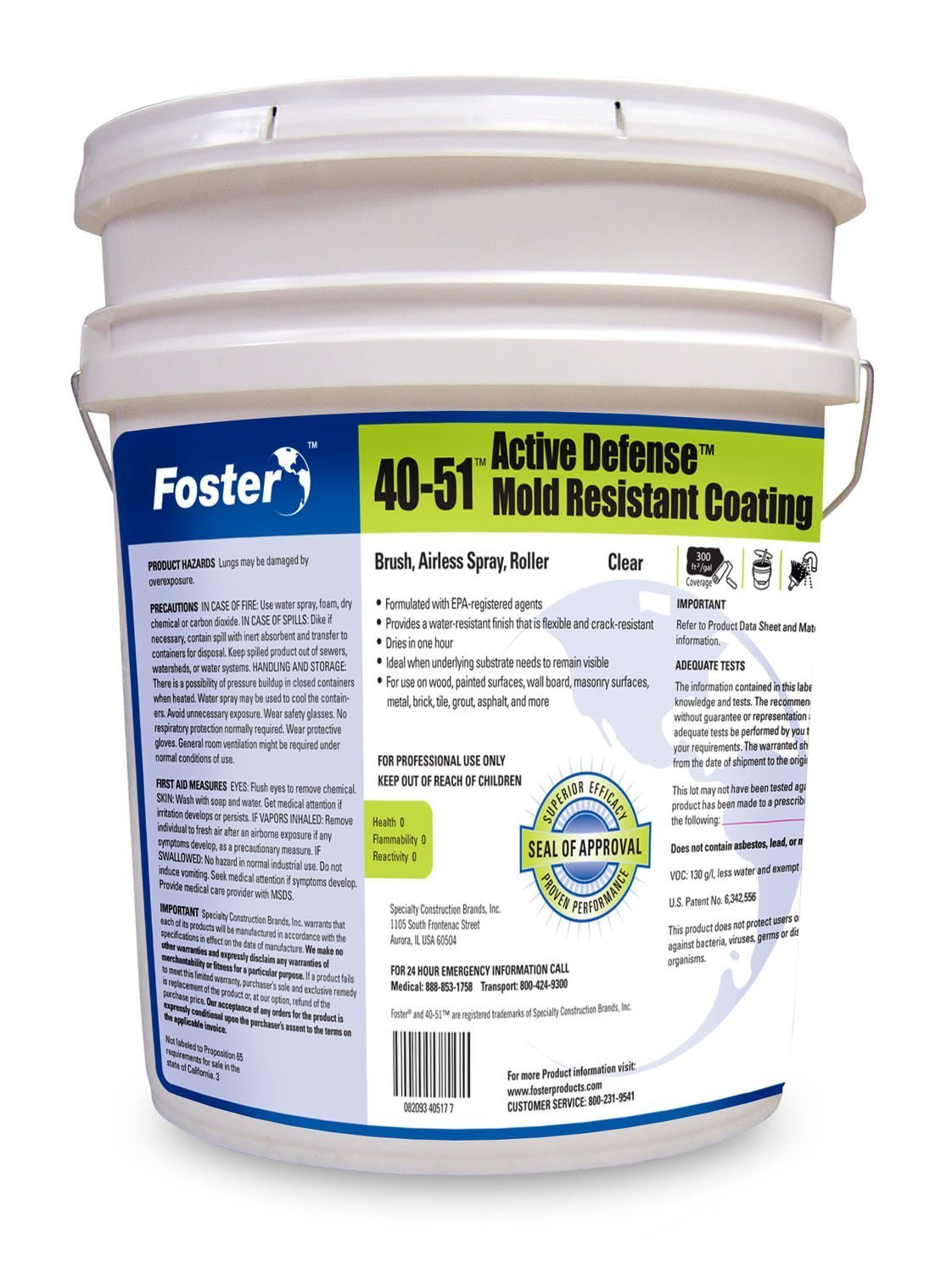 Foster Products - 40-51 - Sheer Defense - Mold Resistant Clear Coat - 5 Gallon Pail by Foster Products