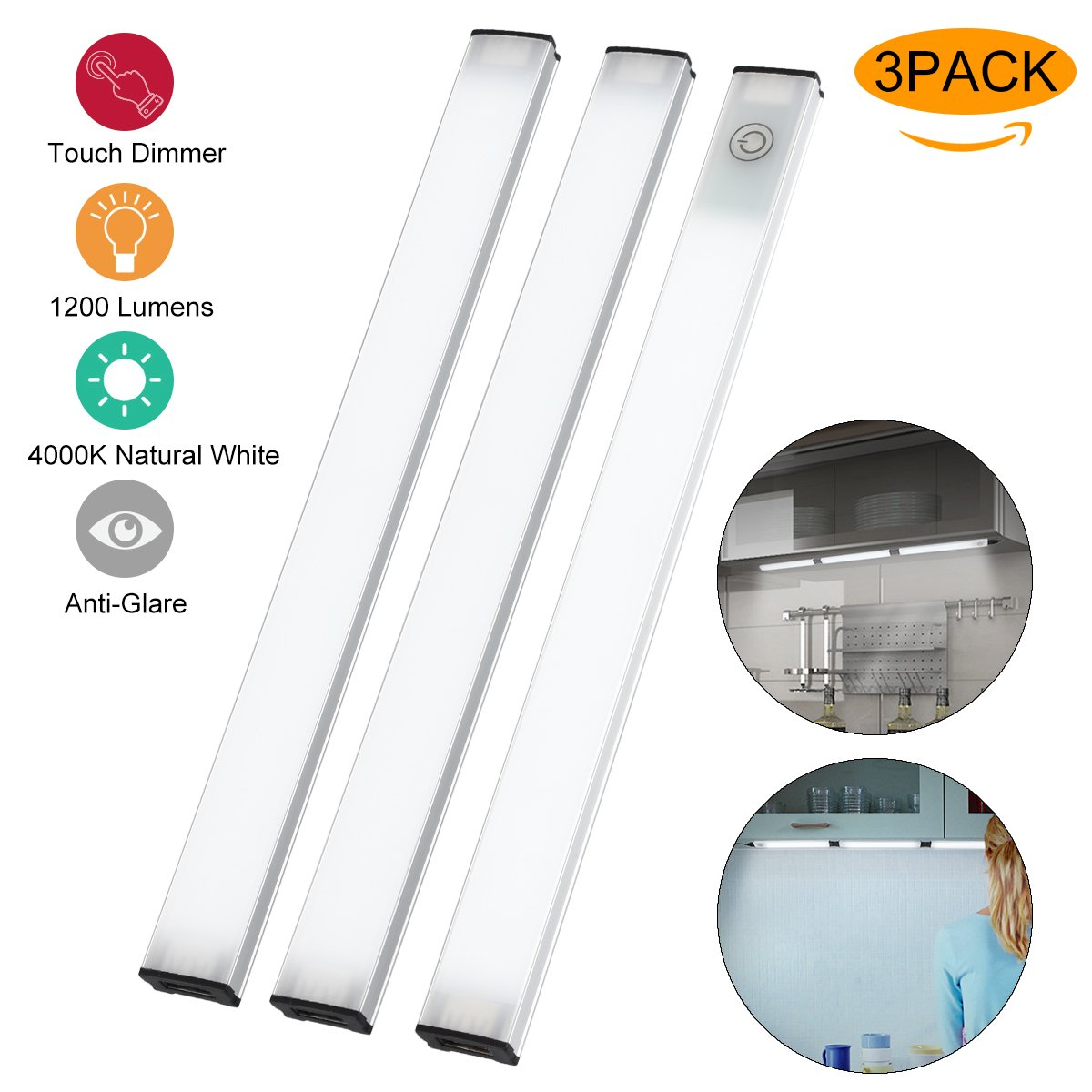 Newforshop Touch Control Kitchen Under Cabinet Lighting, Dimmable LED Under Counter Lights for Kitchen Closet Shelf, 1200 Lumens, Nature White 4000K, 3 Pack