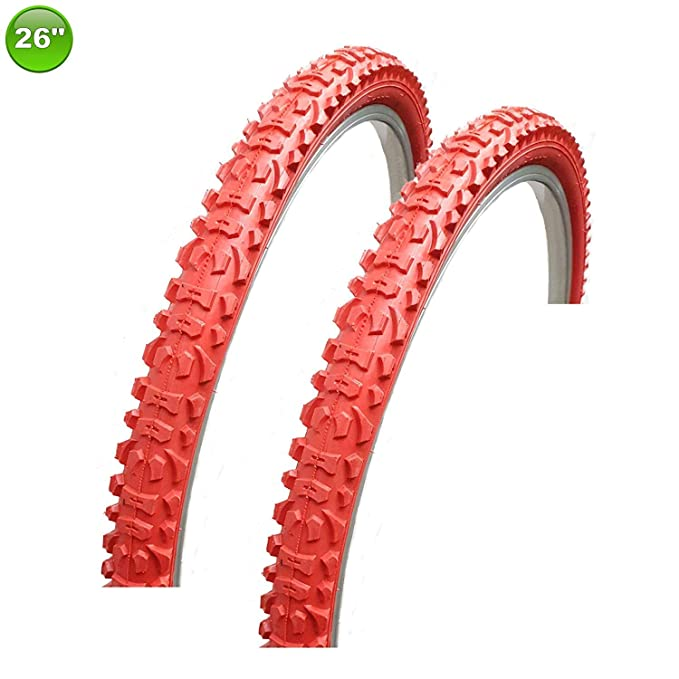 2 X Maxxi4you Neum/ático de la Bicicleta Abrigo Cubierta 26 X 1.95-54-559 Rojo