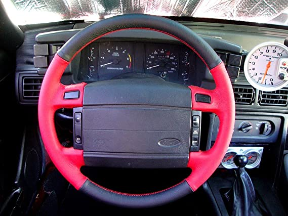 Amazon.com: RedlineGoods steering wheel cover compatible with Ford F-150 1992-96. Black perforated leather-Tan thread: Automotive