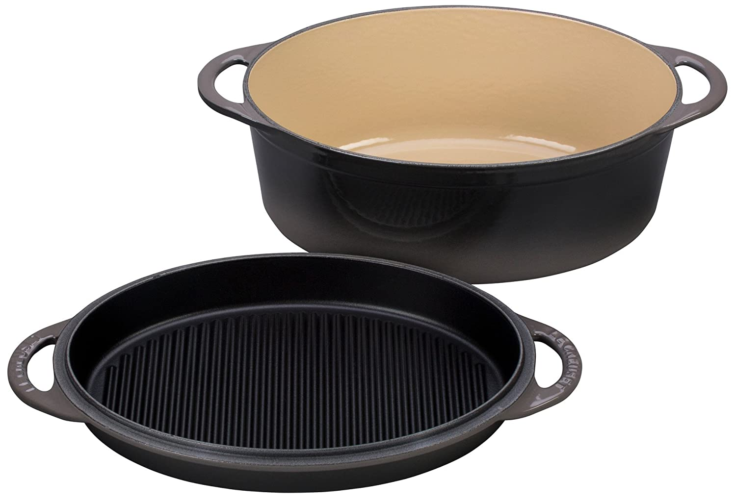 Le Creuset Cast Iron Oval Oven with Reversible Grill Pan Lid, 4 3/4 quart, Oyster