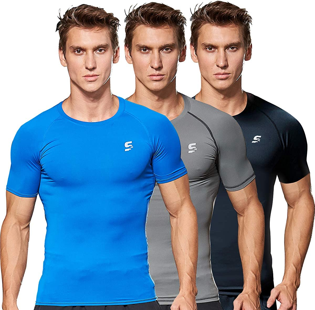 Men Compression Shirts Sports Running Workout Shirts for Men Gym Baselayer Tops Athletic T-Shirts