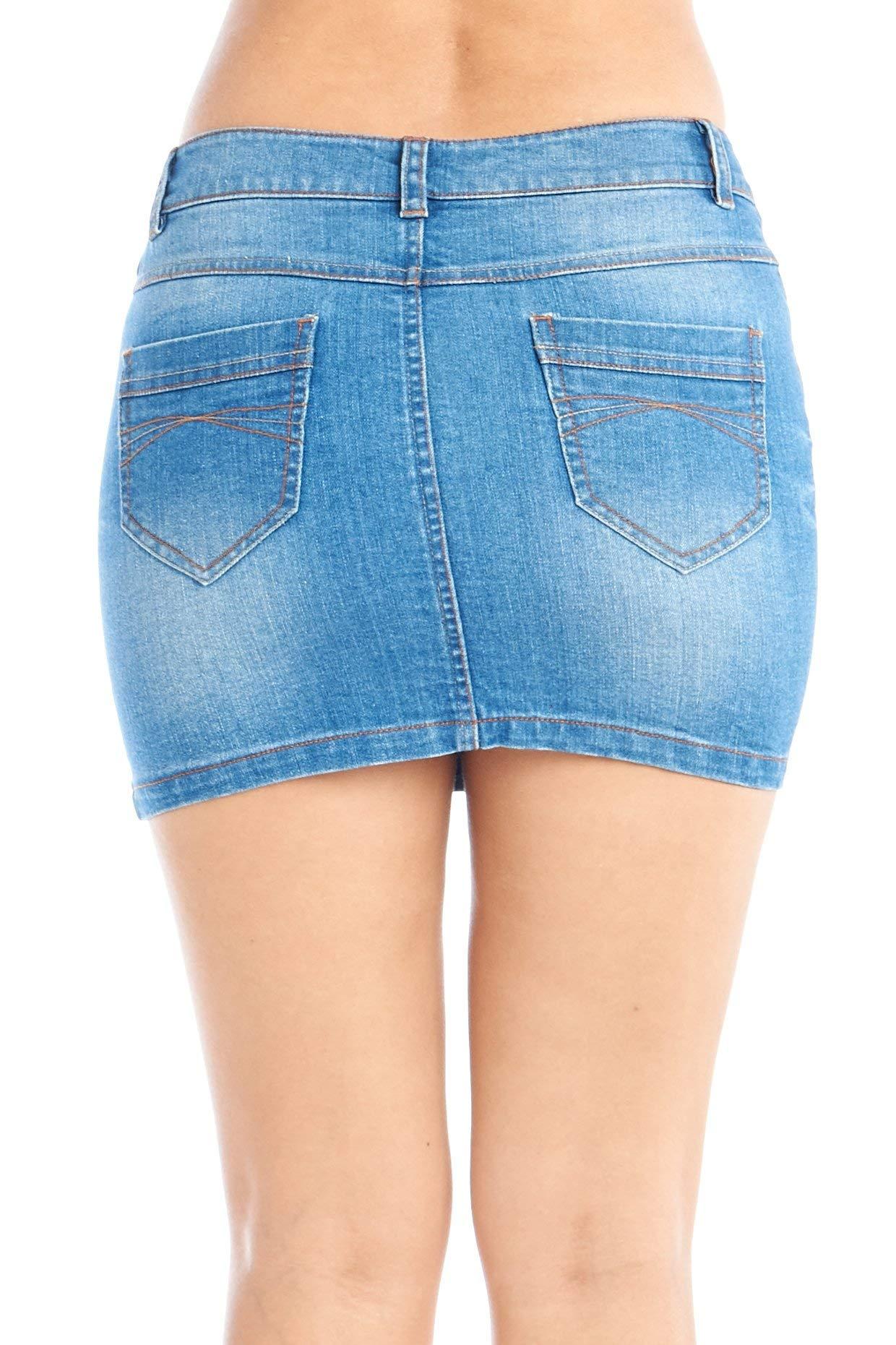 Women's Jeans Denim Mini 5 Pocket Skirts Juniors 4
