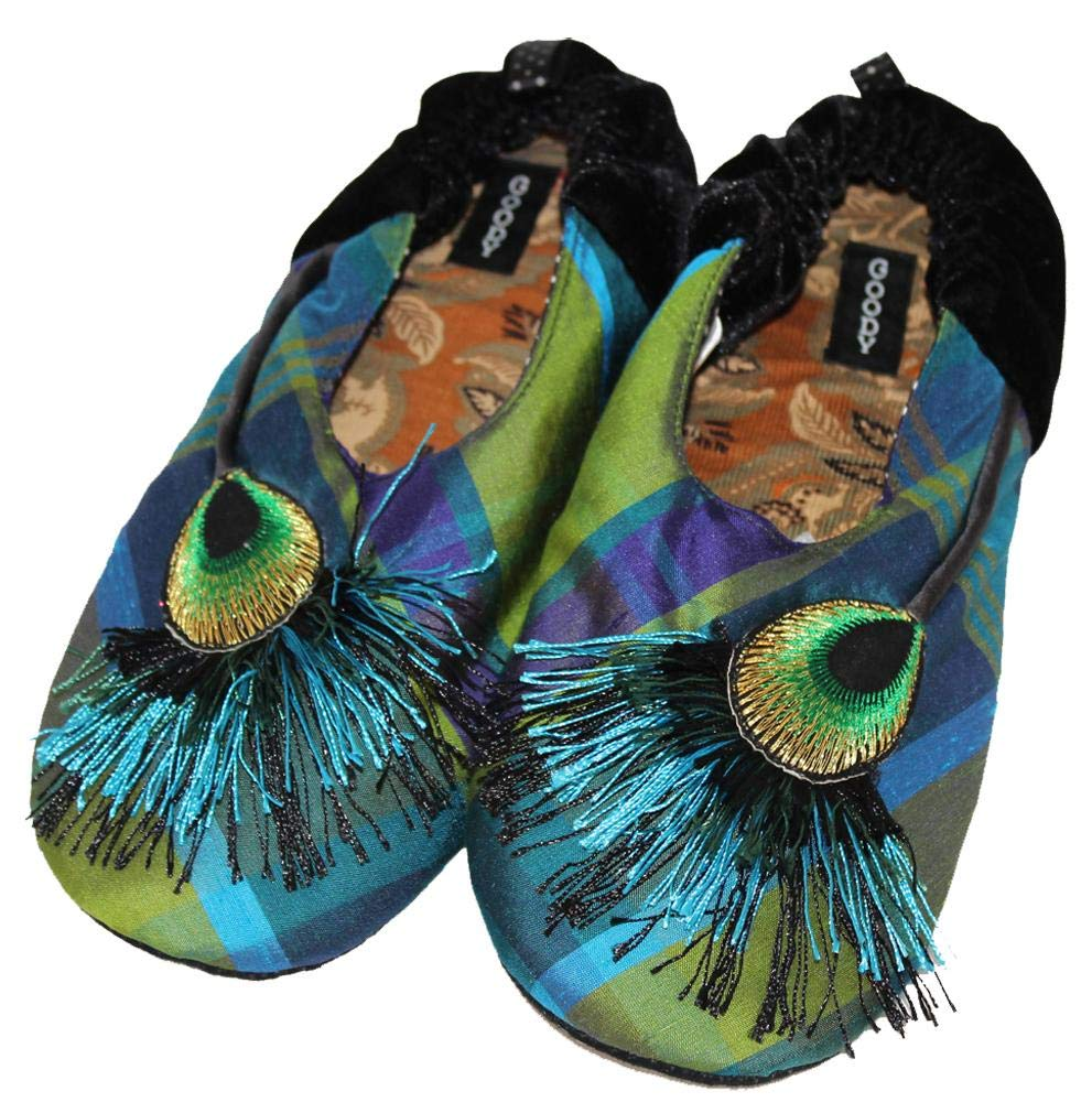 Peacock Slippers by Goody Goody Bon Bon Blue Green by GoodyGoody