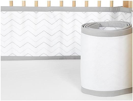 BreathableBaby Mesh Printed Crib Liner, Gray Chevron