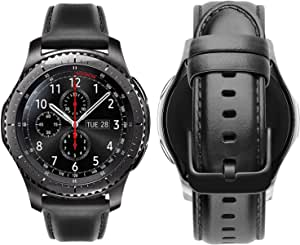 Genuine Handmade Leather Band with Black Buckle for Samsung Galaxy Watch 46mm / Huawei GT2 / Gear S3 Frontier and Classic / Honor Magic 2 / Fossil Smart Watch Elite Strap - 22mm - Denim Black